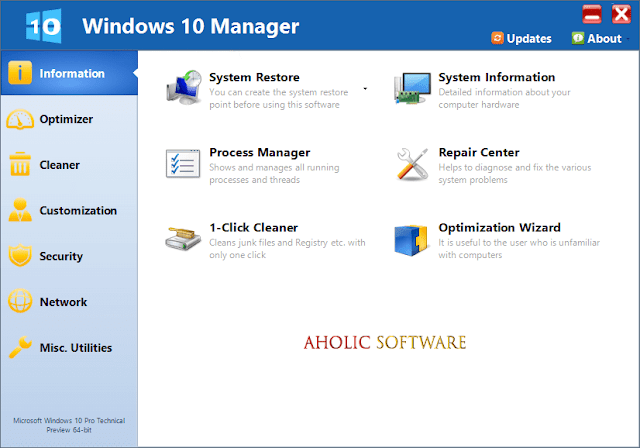 Yamicsoft Windows 10 Manager is the complete solution to optimize, tweak, repair and clean up Windows 10.