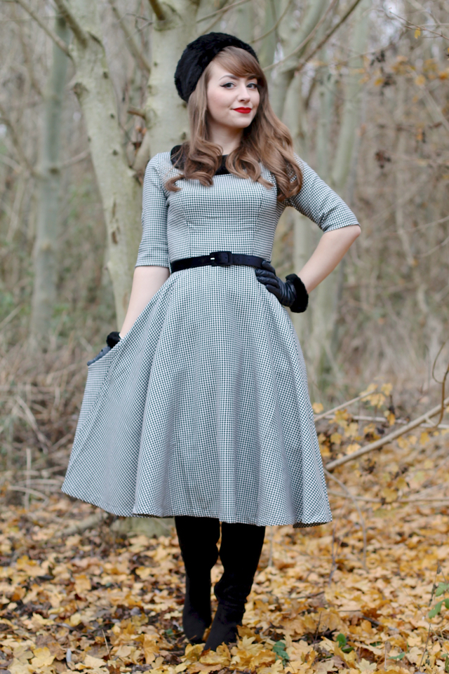 The Jackson dress in houndstooth by Hell Bunny