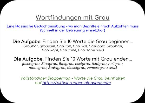 Denkspiel, Gedächtnistraining, Aktivierungsidee, Beschäftigung, Abfrage, Worte die mit Grau beginnen und auf Grau enden