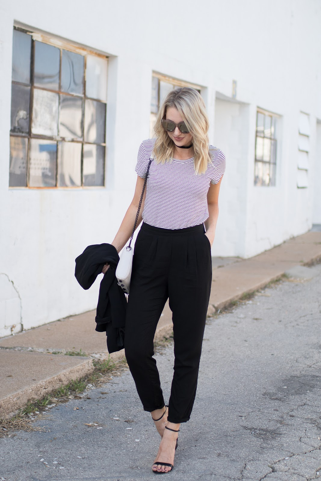 Loose black trousers for work