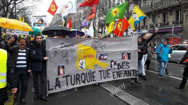 En Francia kurdos protestan contra las masacres de Turquía en Afrin