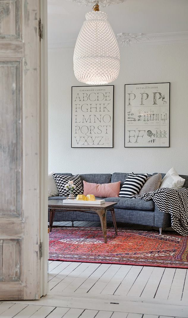 Asian rug over white painted floor boards