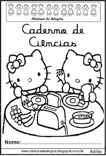 Capa caderno ciências Hello Kitty