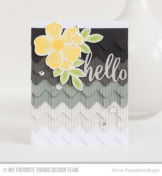Handmade card from Anna Kossakovskaya  featuring Flashy Florals stamp set and Die-namics, Thanks & Hello and Chevron Fringe Die-namics #mftstamps