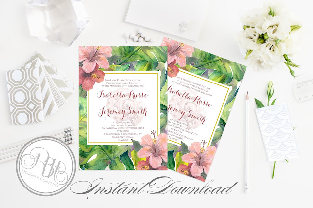 tropical island watercolour invitation template by rbh designer concepts
