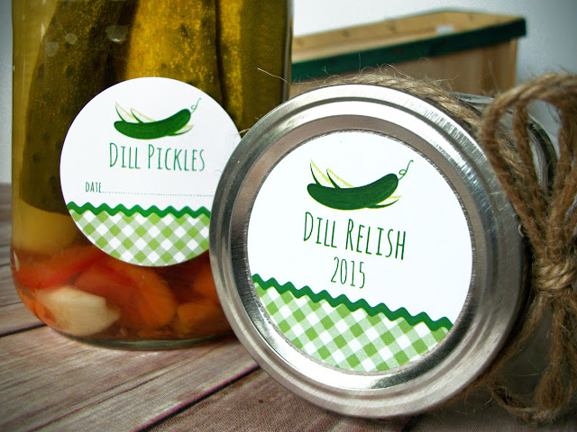 Gingham Pickle Mason Jar Labels