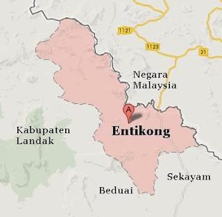 peta wilayah Entikong, Kab Sanggau - Kalbar