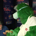Phillie Phanatic delivers cheesesteaks to Phillies broadcast booth