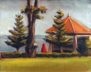 Oil painting of an orange-roofed rotunda, a folded red umbrella and small Norfolk Island pines with a distant bay and headland.