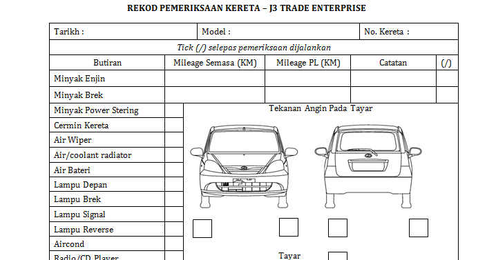 Commuter Van Damage Inspection Diagram Pj Wiring Rental Vehicle Form My Home And Yours Interior