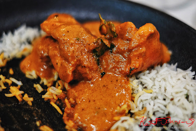 A serving of Butter Chicken at Spice Theory Restaurant. Photography by Kent Johnson for Street Fashion Sydney.