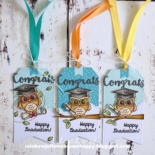Sunny Studio Stamps: Woo Hoo Graduation Owl Gift Tags by Lexa Levana.