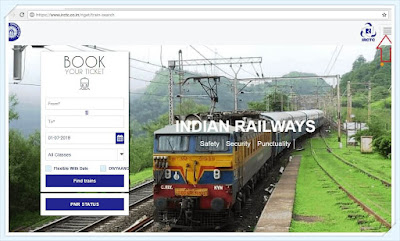 picture of menu button on irctc website home page