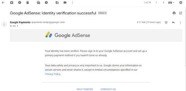 Cara Verifikasi Indentitas Akun Google Adsense