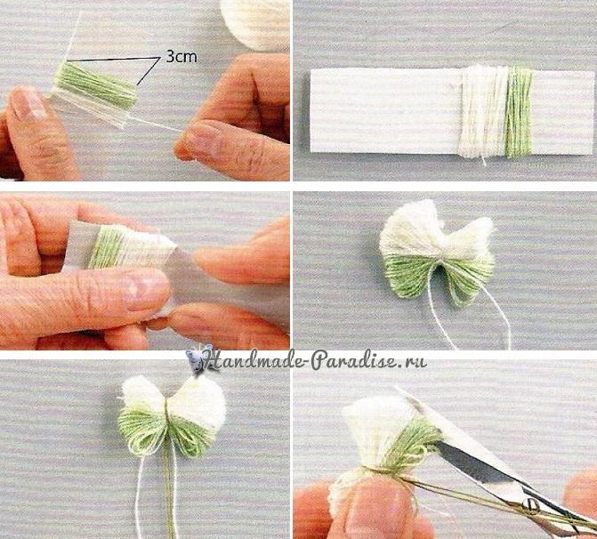 Цветок клевера из помпона