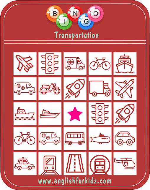 Transport bingo worksheet - ESL game