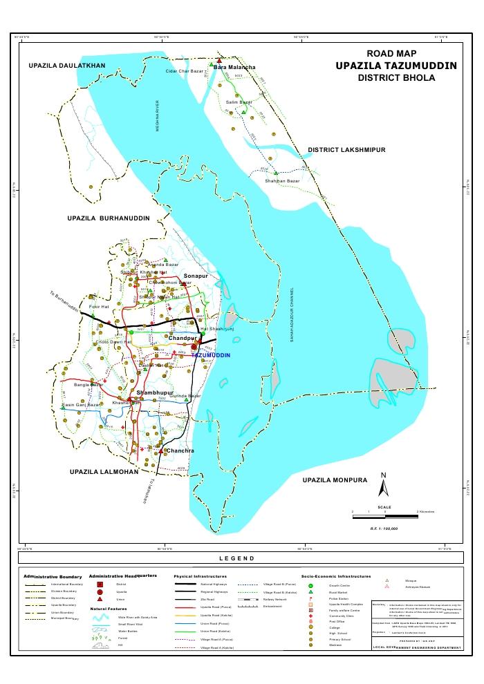 Tazumuddin Upazila Road Map Bhola District Bangladesh