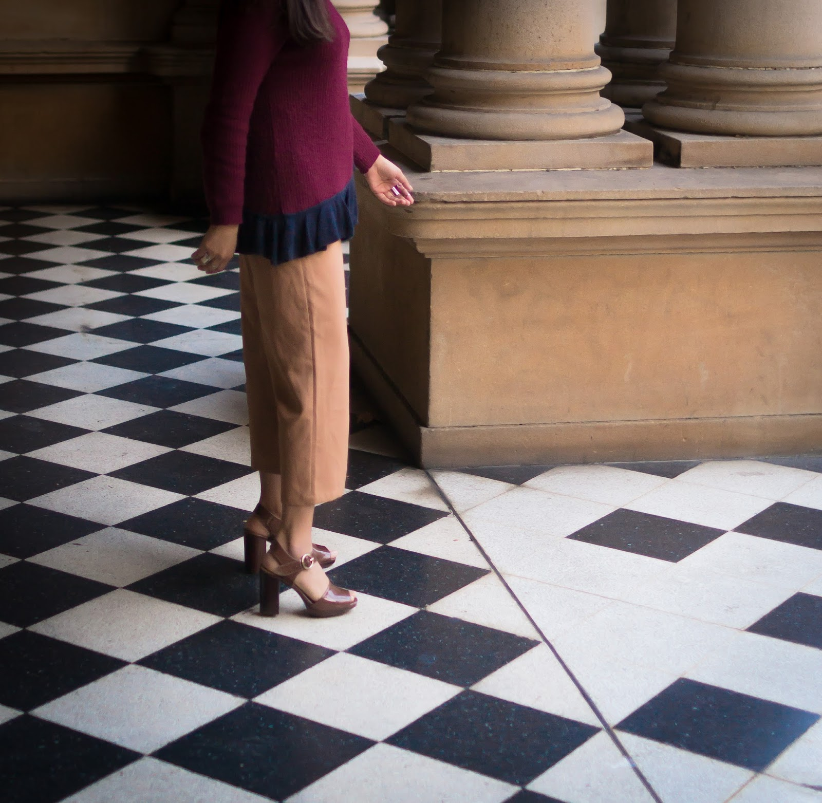 Burgundy Ruffle Sweater with Camel Culottes