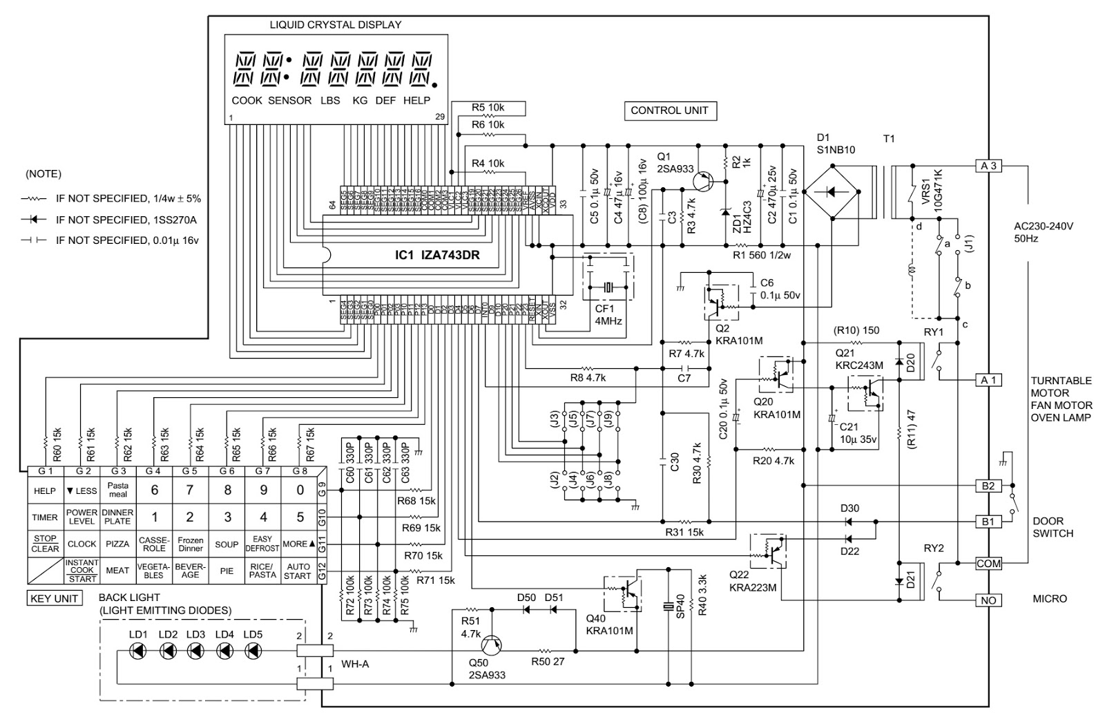 Sharp R 3c59 Microwave Oven Circuit Diagram Wiring