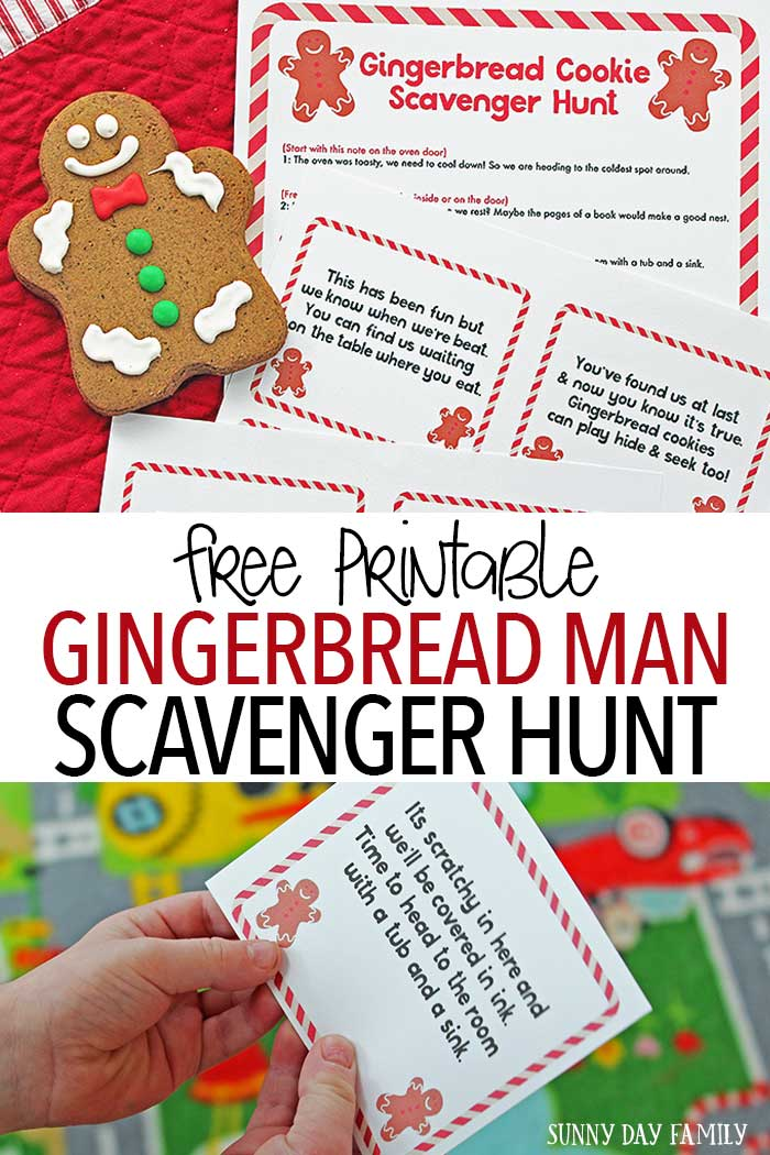 Create Christmas magic with a free printable Gingerbread Man Scavenger Hunt! Kids will love chasing clues left by runaway gingerbread cookies - and the sweet treat at the end. A super fun Christmas activity for kids and a great family Christmas tradition to start.