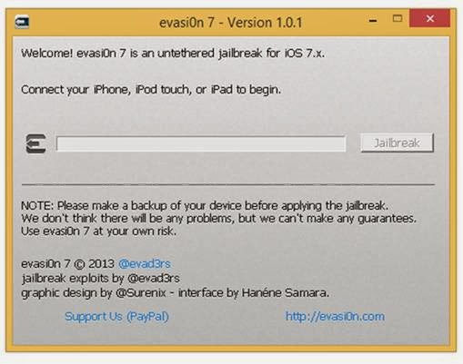 Evasi0n 7 Version 1.0.1 Download