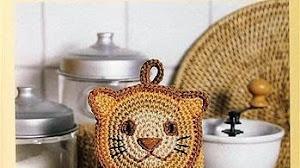 """Patrones de agarradera manopla """"Tigre"""" al crochet"""