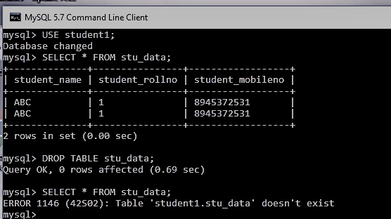 drop or delete the table in sql
