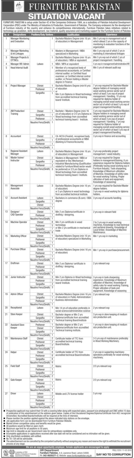 Jobs in Ministry Of Industries And Production Lahore Feb 2018