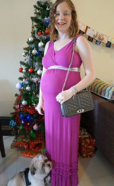 Away From Blue | Second Trimester Christmas Maxi dress outfit RM Love bag MEV Havana