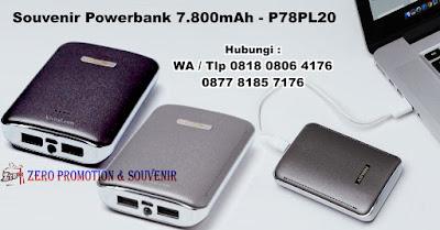 Powerbank 7.800mAh Kode: P78PL20, Barang Promosi Powerbank Plastik 7.800mAh P78PL20, PowerBank custom P78PL20, powerbank kulit / leather