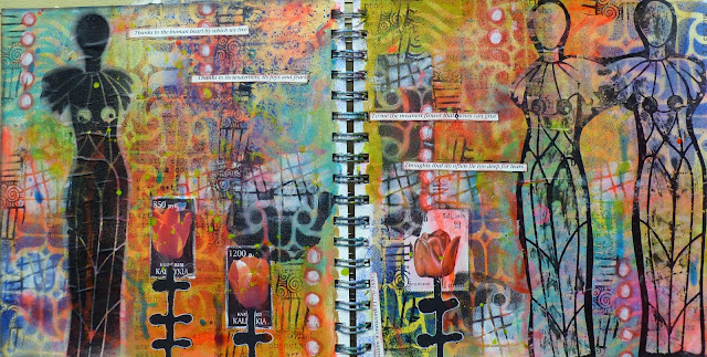 Art Journaling with Spray Paint & StencilGirl® Products by Frieda Oxenham