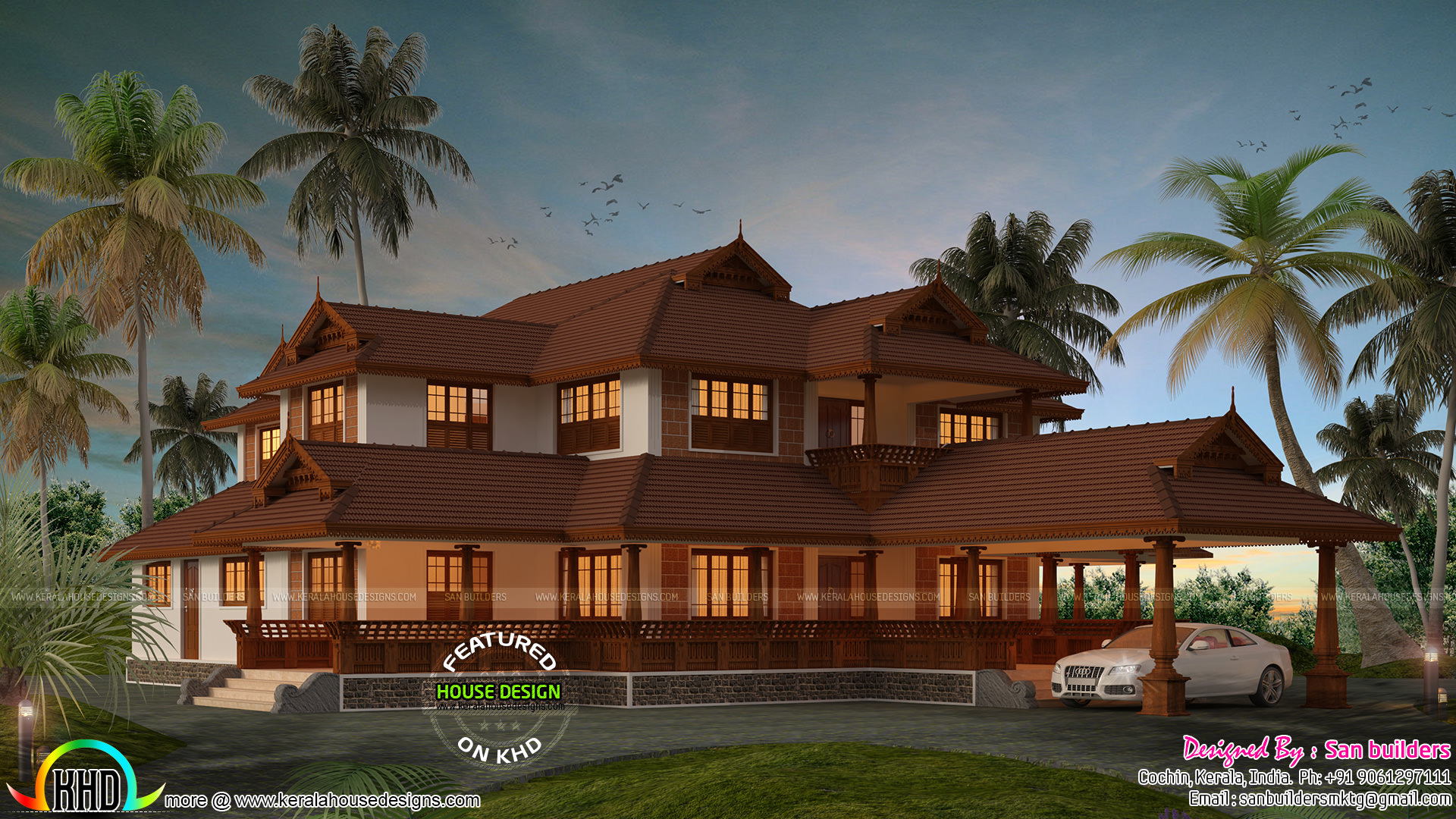Kerala traditional home plans with photos for Conventional style home