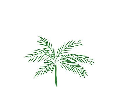 アイコン 「昼」 (作: 塚原 美樹) ~ ヤシの木の葉を描く
