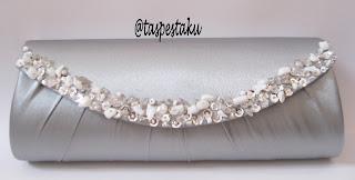 Dompet Pesta Silver Nuansa Payet Putih Mewah Elegant