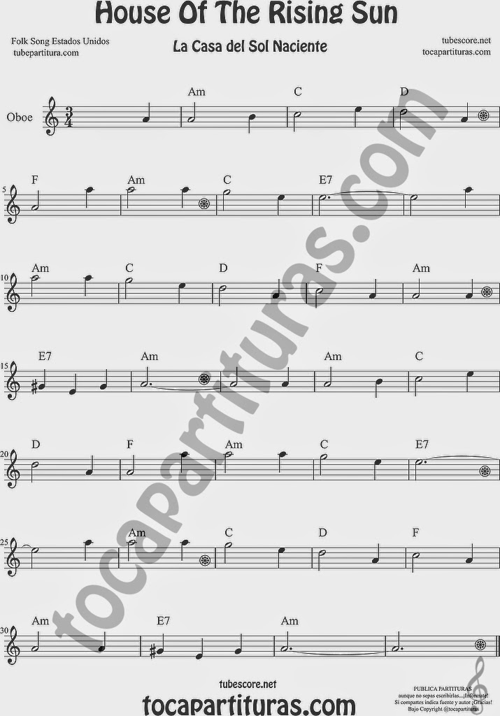 La Casa del Sol Naciente Partitura de Oboe Sheet Music for Oboe Music Score