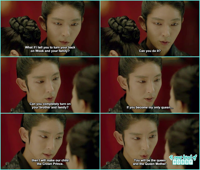 as wang so is in anger ask yeon hwa if he can give her hire for the throne can she turn her back on her mother and wook  - Moon Lovers Scarlet Heart Ryeo - Episode 18 (Eng Sub)