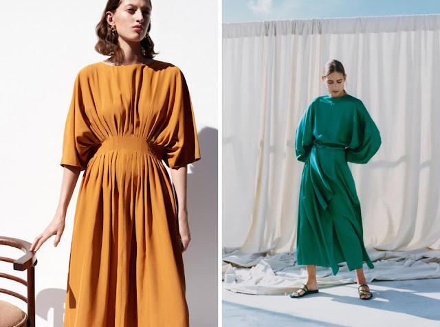 Желтое и зеленое платья с пышными рукавами