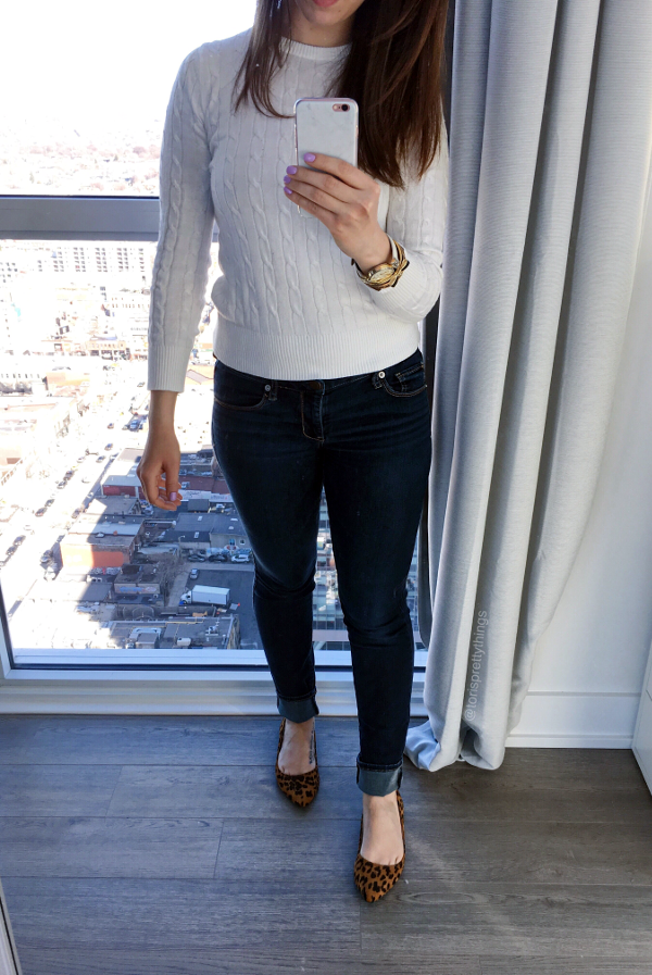 White Sweater Leopoard Flats Spring Outfit - Tori's Pretty Things Blog