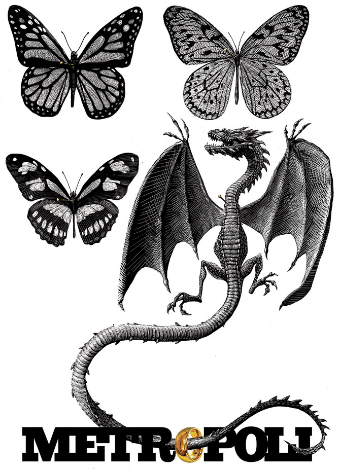 07-Dragon-and-Butterflies-Ricardo-Martinez-Wild-Animals-inside-Scratchboard-Drawings-www-designstack-co