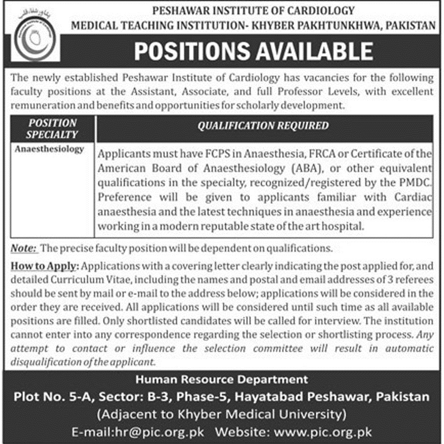 Peshawar Institute Of Cardiology Recent Announced Jobs 2018