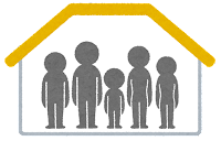 暮らしの形のマーク(家族五人暮らし)