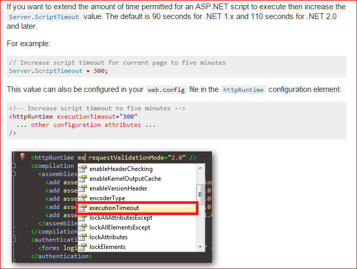 How to handle request timeout in web config and page in Asp net