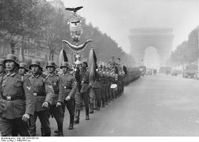 German soldiers on the Champs-Elysees in Paris, 1940