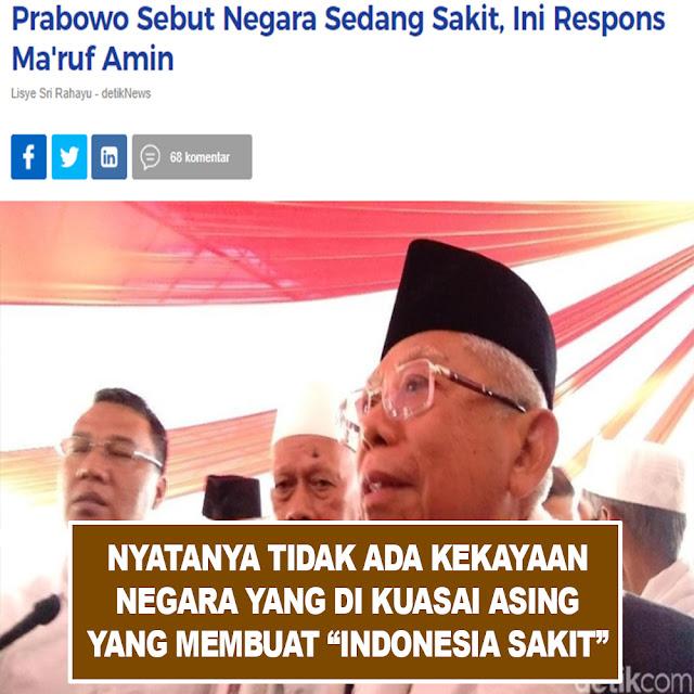 Prabowo Sebut Negara Sedang Sakit, Ini Respons Ma'ruf Amin