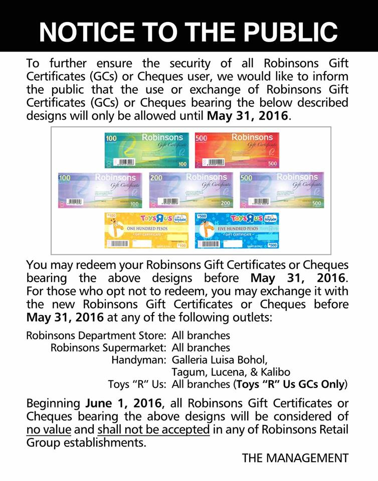 robinsons gift check, we buy robinsons gift certificates (gc) at discounted rates minimum of php5, to maximum amount of php, = less 15%. FOR PHP4, AND BELOW BUT NOT LOWER THAN PHP1, = LESS 20%.