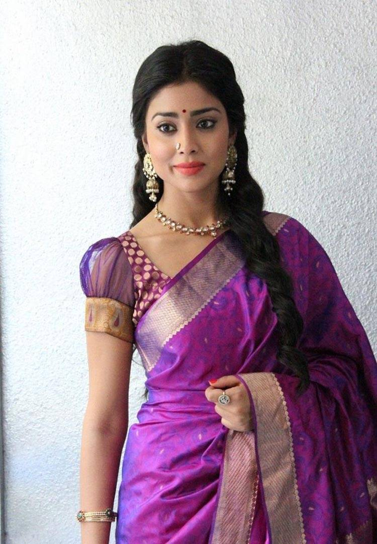 Shriya Saran Gorgeous Stills In Violet Saree
