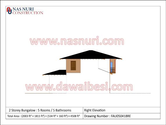 pinjaman perumahan Pelan Rumah Banglo 2 Tingkat bali pandangan sisi kanan