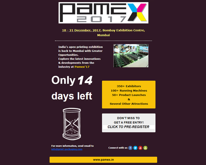 Only 14 days to go for Pamex'17, Mumbai- Pre Register NOW!!