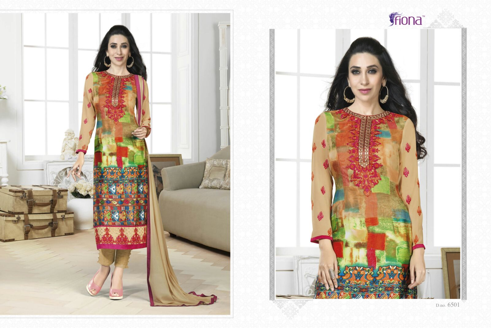 Fiona Ki Style – Buy online Wholesale Latest Half Georgette and Half Satin Style Suit