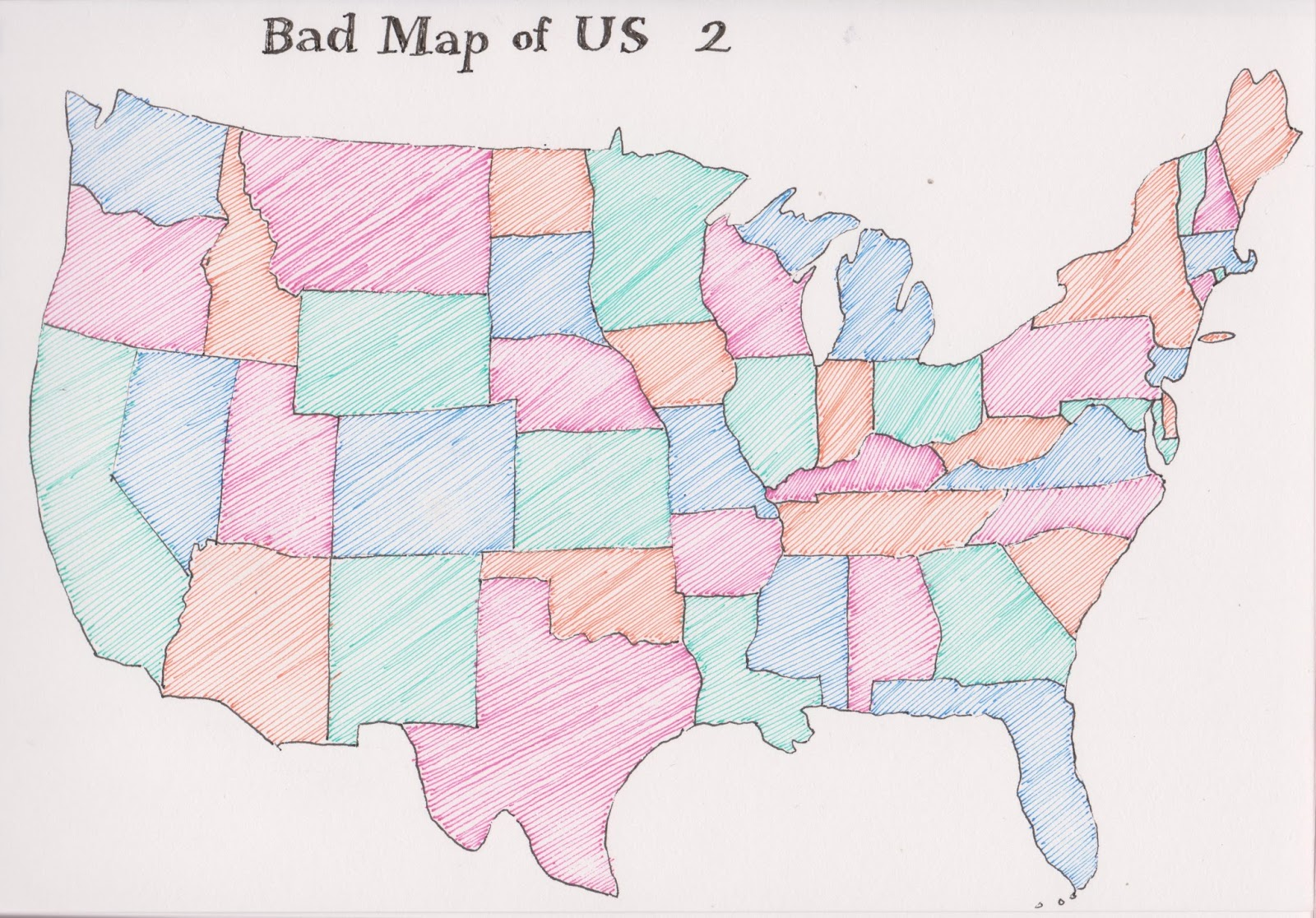 this time things turned out better i was careful to get arkansas where it belongs new york west virginia and the dakotas flunked the shape test